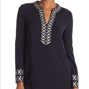Tory Burch Navy Blue Embroidered Tunic 💙